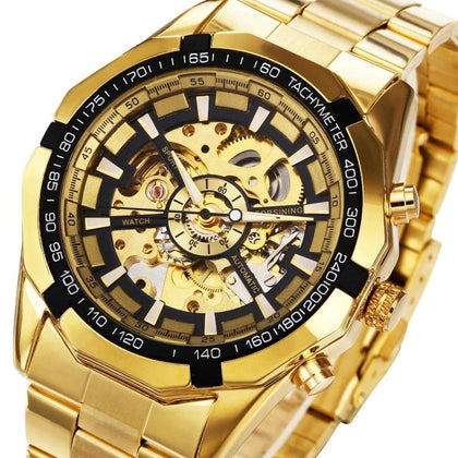 Winner Watch Men Skeleton Automatic Mechanical Watch Gold Skeleton Vintage Man Watch Mens Watch Top Brand Luxury - Go Buy Dubai