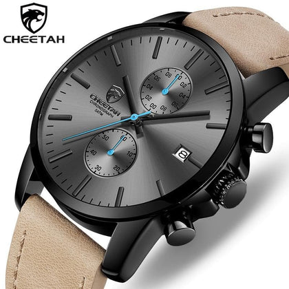 Brand Fashion Sports Quartz Watches Mens Leather Waterproof Chronograph Clock Business Relogio Masculino - Go Buy Dubai