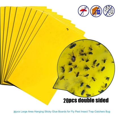 20pcs Strong Flies Traps Bugs Sticky Board Catching Aphid Insects Killer Pest Control Whitefly Thrip Leafminer Glue Sticker - Go Buy Dubai