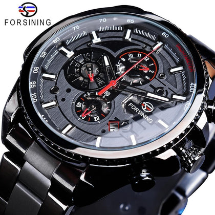 Calendar Stainless Steel Men Mechanical Automatic Wrist Watches Top Brand Luxury Military Sport Male Clock - Go Buy Dubai