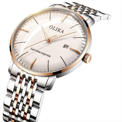Quartz Watches Men Ultra-thin Business Waterproof Convex Glass Japan Movement Steel/Leather Band Butterfly Clasp Men Watch - Go Buy Dubai