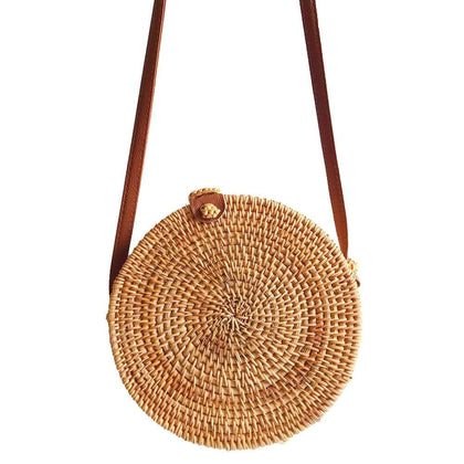 Fashion Women shoulder bag circle Handwoven Bali Round Retro Rattan Straw Beach Bag Crossbody bolsas femininas 2019 #G4 - Go Buy Dubai