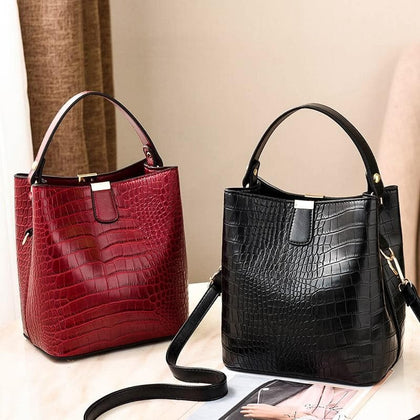 Retro Alligator Bucket Bags Women Crocodile Pattern Handbag Casual Shoulder Messenger Bags Ladies PU Purse bolsa feminina bags - Go Buy Dubai