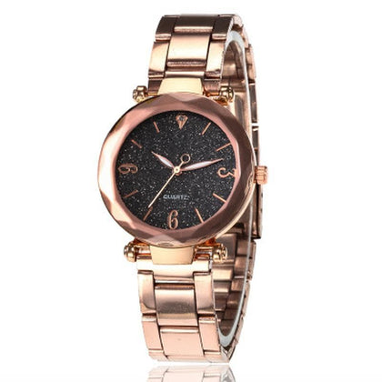 Personality Romantic Women Watches Best Sell Star Sky Dial Clock Luxury Rose Gold Bracelet Wrist Ladies Watches reloj mujer - Go Buy Dubai