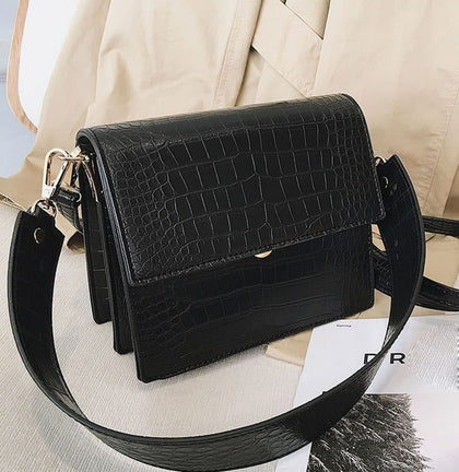 Fashion Women Handbag Luxury crocodile Leather Flap Shoulder Bag for Female crossbody bags Large capacity Totes coffee and black - Go Buy Dubai