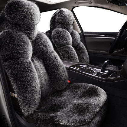 Luxury Universal Autumn Winter Warm Fur wool Car Seat Covers for nissan note qashqai j10 almera n16 x-trail t31 navara d40 - Go Buy Dubai