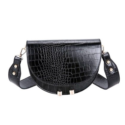 Luxury Crocodile Pattern Crossbody Bags for Women Half Round Messenger Bag PU Leather Handbags Shoulder Bag sac main femme - Go Buy Dubai