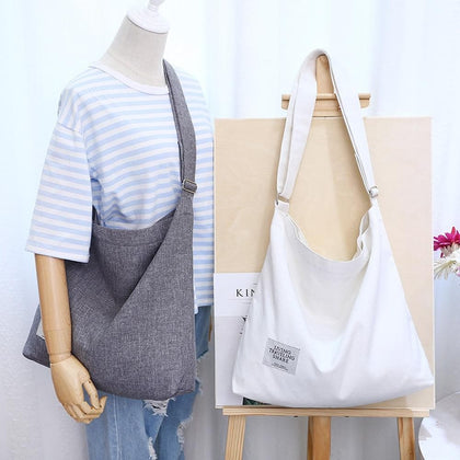 Preppy Style Women Canvas Shopping Bags Satchel Crossbody Tote Large Reusable Bags Girls Shopping Bags - Go Buy Dubai
