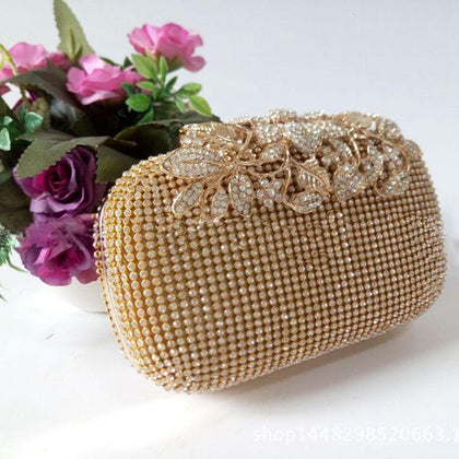 Unique Gold Rhinestone Evening bag Clutch Purse Party Bridal Prom - Go Buy Dubai