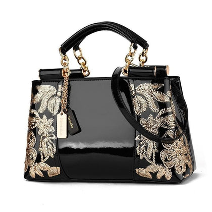Nevenka Embroidery Handbag Women Evening Bags Patent Leather Shoulder Bag Female Crossbody Bag Floral Handbag Casual Tote Bags - Go Buy Dubai