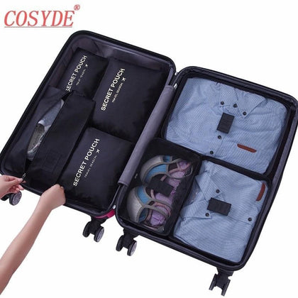 7PCs/Set Travel Bag Zipper Packing Cubes Bags Shoes Clothing Pouches Bags Waterproof Luggage Container Organiser For Clothing - Go Buy Dubai