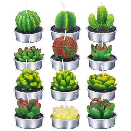 6pcs 12pcs Artificial Succulent Plants Cactus Candle For Birthday Party Wedding Feast Holiday Decoration home decor - Go Buy Dubai