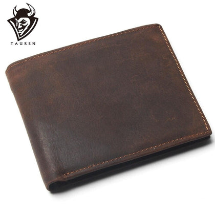 Vintage Cowhide Mens Wallet With Card Page Genuine Crazy Horse Leather Man Purse Male Credit&Id Multifunctional Brown Wallets - Go Buy Dubai