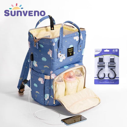 SUNVENO Mummy Maternity Diaper Nappy Bag Organize Large Capacity Baby Bag Backpack Nursing Bag for Mother Kids Baby Care - Go Buy Dubai