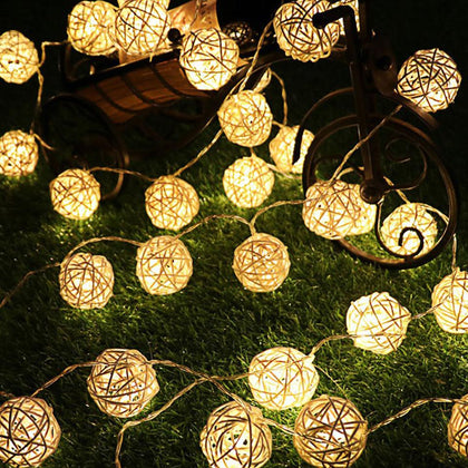Rattan Ball Christmas Lights String 3M 20Leds Warm White Garland 4cm Diameter Ball for Holiday Decoration Fairy Luces De Navidad - Go Buy Dubai
