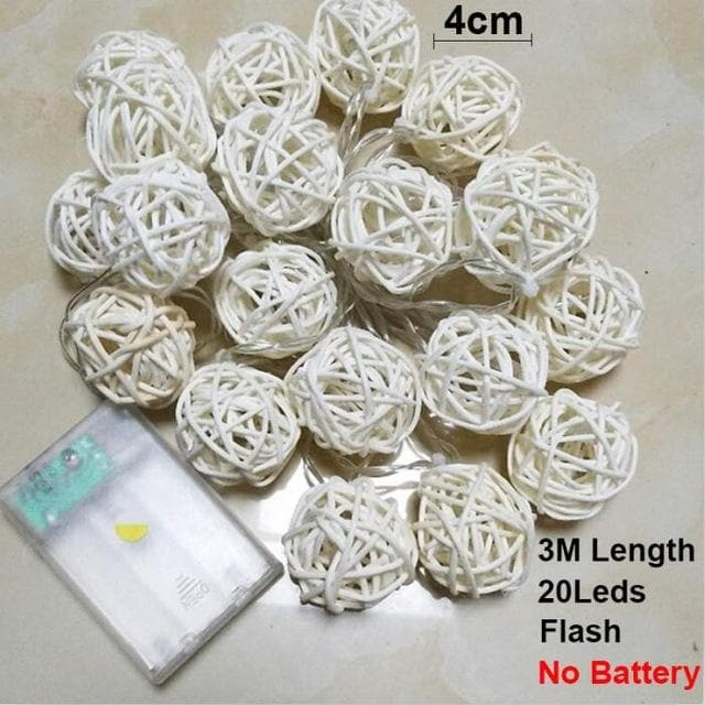 Rattan Ball Christmas Lights String 3M 20Leds Warm White Garland 4cm Diameter Ball for Holiday Decoration Fairy Luces De Navidad