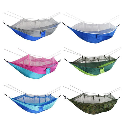 9Pcs Camping Portable Mosquito Net Hammock Tent Double Person Hanging Swing Bed for Outdoor Camping Tent Using sleeping260*140cm - Go Buy Dubai
