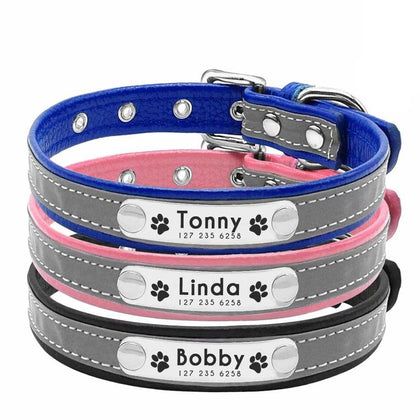 AiruiDog Personalized Dog Collar Reflective Leather ID Name Custom Engraved Puppy XS-L - Go Buy Dubai