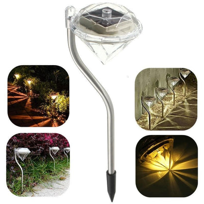 4PCS LED Solar Garden Lights Outdoor Waterproof Lawn Lamp Colorful Diamonds Courtyard Deco Light For Pathway Flowerpot Trail - Go Buy Dubai