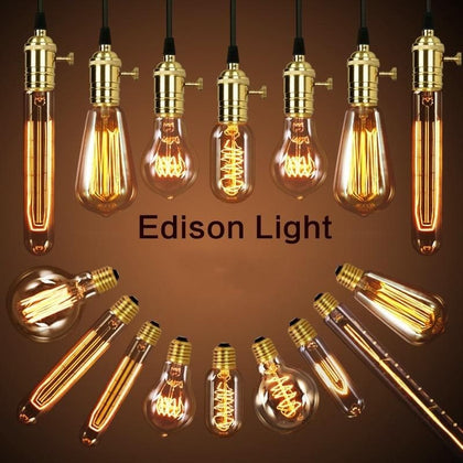 American vintage pendant lights copper lamp holder tungsten light bulb industry pendant lamps Golden/Chrome E27 W-filament bulb - Go Buy Dubai