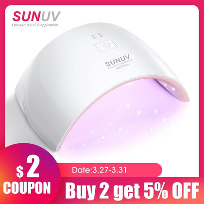 SUNUV SUN9c Plus 36W UV Light LED Nail Dryer UVLED Gel Nail Lamp Arched Shaped Lamps for Nail Art Perfect Thumb Drying Solution - Go Buy Dubai