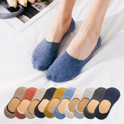 10 pieces = 5 pairs Spring summer women socks Solid color fashion wild shallow mouth felmen girls female invisible slipper socks - Go Buy Dubai