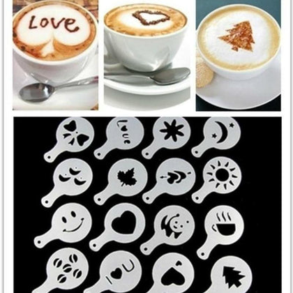 Latte Art Stencils Cake Cappuccino Foamtool DIY Fancy Coffee Printing Flower Model Spray Template Barista Stencil Tool 16pcs/set - Go Buy Dubai