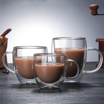 Double Coffee Mugs With the Handle Mugs Drinking Insulation Double Wall Glass Tea Cup Creative Gift Drinkware Milk - Go Buy Dubai