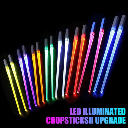 2Pcs /Pair Luminous Chopsticks Chinese Creative Safe Tableware Glowing LED Light Reusable Chopsticks Party Dinning Kitchen - Go Buy Dubai
