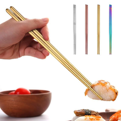 Reusable Stainless Steel Chopsticks 23cm Tableware Chopsticks Non-slip Food Sticks Dinner Lunch Chop Sticks Kitchen Tools - Go Buy Dubai