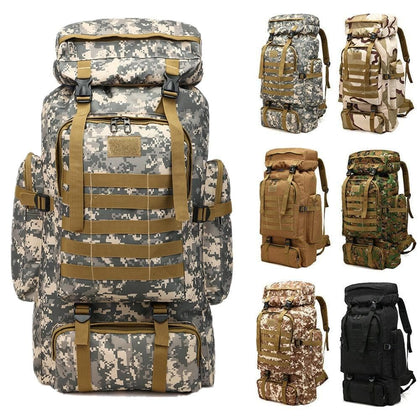 80L Waterproof Molle Camo Tactical Backpack Military Army Hiking Camping Backpack Travel Rucksack Outdoor Sports Climbing Bag - Go Buy Dubai
