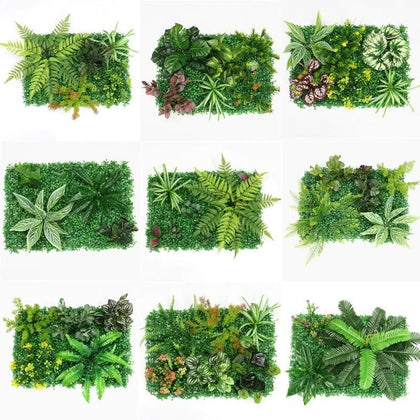 40x60cm 3D green artificial plants wall panel plastic outdoor lawns carpet decor wedding backdrop party garden grass flower wall - Go Buy Dubai