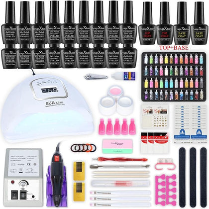 Manicure kit Nail Dryer nail Tools electric nail drill machine Nail Rhinestone Nail Art Decoration with 18/10pcs Nail Gel Polish - Go Buy Dubai