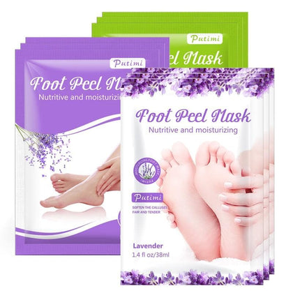 PUTIMI 6pcs 3pair Foot Mask Socks Exfoliating Foot Spa Bath Mask Peeling Scrub Pedicure Foot Patch Moisturizer Dead Skin Remover - Go Buy Dubai