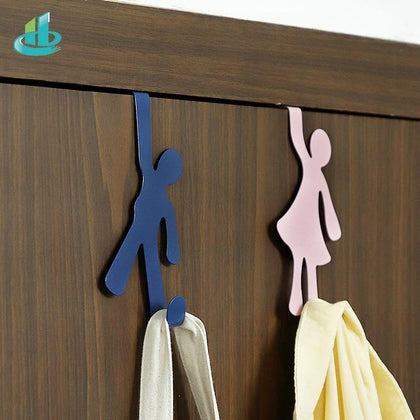 Creative Metal Door Hook Hanger Lovers Person Shape Holder Storage Rack Space Saver Kitchen Bedroom Bathroom Racks Hangers - Go Buy Dubai