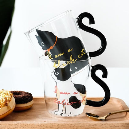 250ML Cute Cat Glass Juice Coffee Cup Milk Tea Coffee Glass Mug Cat Tail Handle Cat  Valentine's Day Lover Gifts Stainless Spoon - Go Buy Dubai