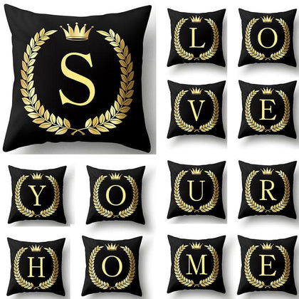 43*43cm Black Golden Alphabet Letter Crown Polyester Cushion Cover Decorative Cushions for Sofa Home Decoration Pillowcase 40553 - Go Buy Dubai