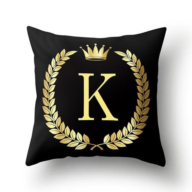 43*43cm Black Golden Alphabet Letter Crown Polyester Cushion Cover Decorative Cushions for Sofa Home Decoration Pillowcase 40553