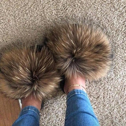 2020  Real Fox Fur Slides Wholesale Furry Sliders Women Ladies Fur Slippers hand mada amazing Quality - Go Buy Dubai