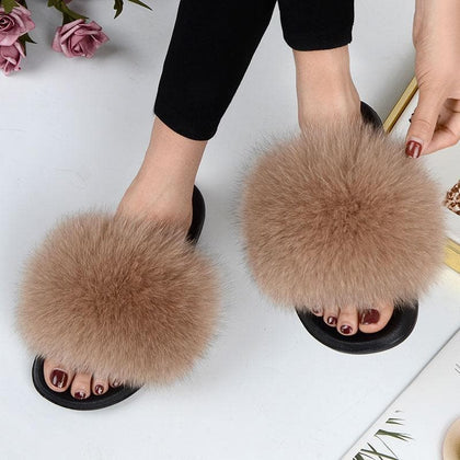 Women Summer Casual Fur Slippers Flat Non-slip Solid Real Fox hair Slides Large Size Slippers Free Shipping - Go Buy Dubai