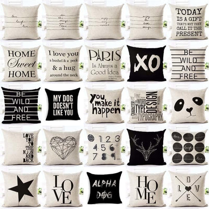 Letter Love  Home Cushion covers Cotton linen Black White pillow cover Sofa bed Nordic decorative pillow case almofadas 45x45cm - Go Buy Dubai
