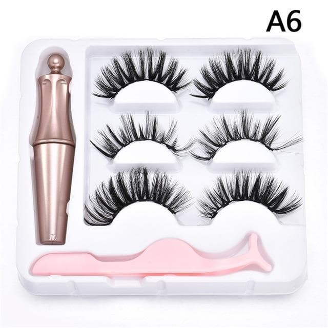 5/3 Magnet Eyelash Magnetic Liquid Eyeliner & Magnetic False Eyelashes & Tweezer Set Waterproof Long Lasting Eyelash Extension