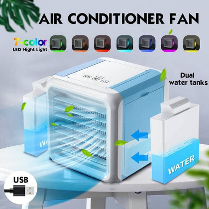 Mini Portable Air Conditioner 7 Colors Light Conditioning Humidifier Purifier USB Desktop Air Cooler Fan With 2 Water Tanks Home - Go Buy Dubai