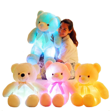 Luminous 25/30/50cm Creative Light Up LED Colorful Glowing Teddy Bear Stuffed Animal Plush Toy Christmas Gift for Kid - Go Buy Dubai