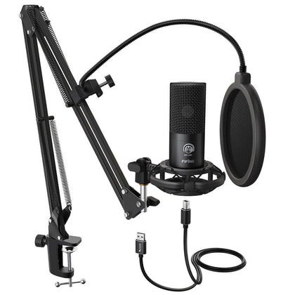 FIFINE Studio Condenser USB Computer Microphone Kit With Adjustable Scissor Arm Stand Shock Mount for YouTube Voice Overs-T669 - Go Buy Dubai