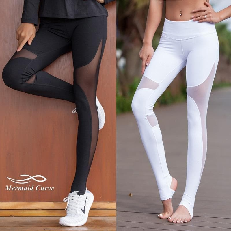 Mermaid Curve Women Sport Fitness Leggings Elastic Gym Capris hollow out Tight Leggings Coast the same style Yoga pants