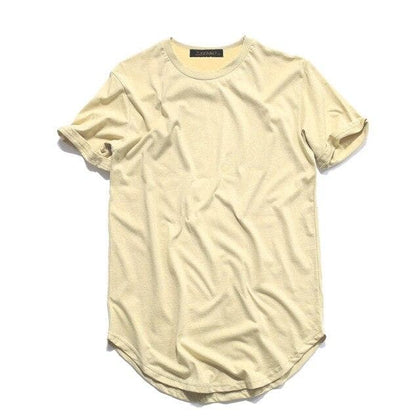 Kanye West Extended T-Shirt Men Curved Hem Longline Hip Hop Tshirts Urban Blank Mens Tee Shirts - Go Buy Dubai