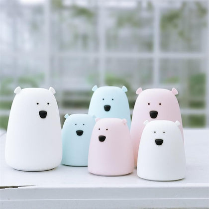 Silicone Night Light Bedside Lamp Bear Color Light Children Cute Night Lamp Bedroom Kid Light Gift Pressure reducing toy - Go Buy Dubai