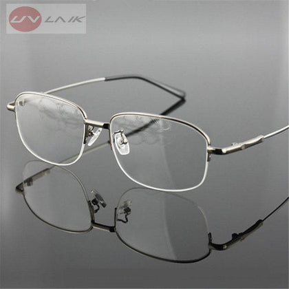 Memory Titanium Eyeglasses Half Alloy Frame Optical Glasses Frame Men Women Retro Half-frame Glasses Prescription Frames - Go Buy Dubai