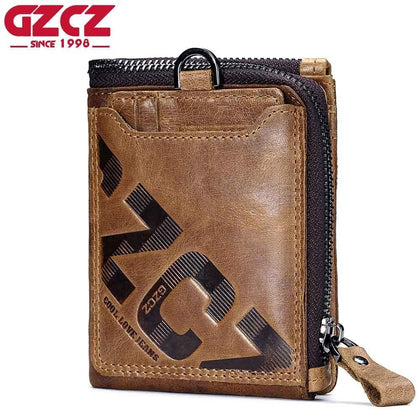 GZCZ Genuine Leather Men Wallet Fashion Coin Purse Card Holder Small Wallet Men Portomonee Male Clutch Zipper Clamp For Money - Go Buy Dubai